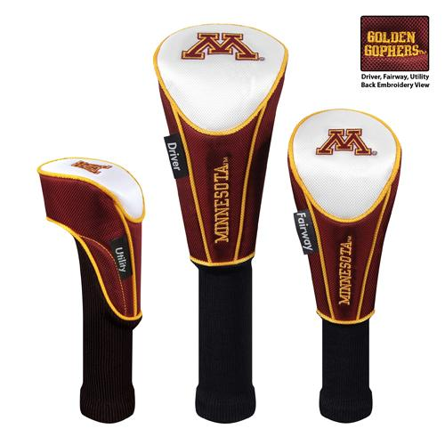7df6e835f5e Minnesota Golden Gophers Nylon Graphite Golf Set of 3 Headcovers